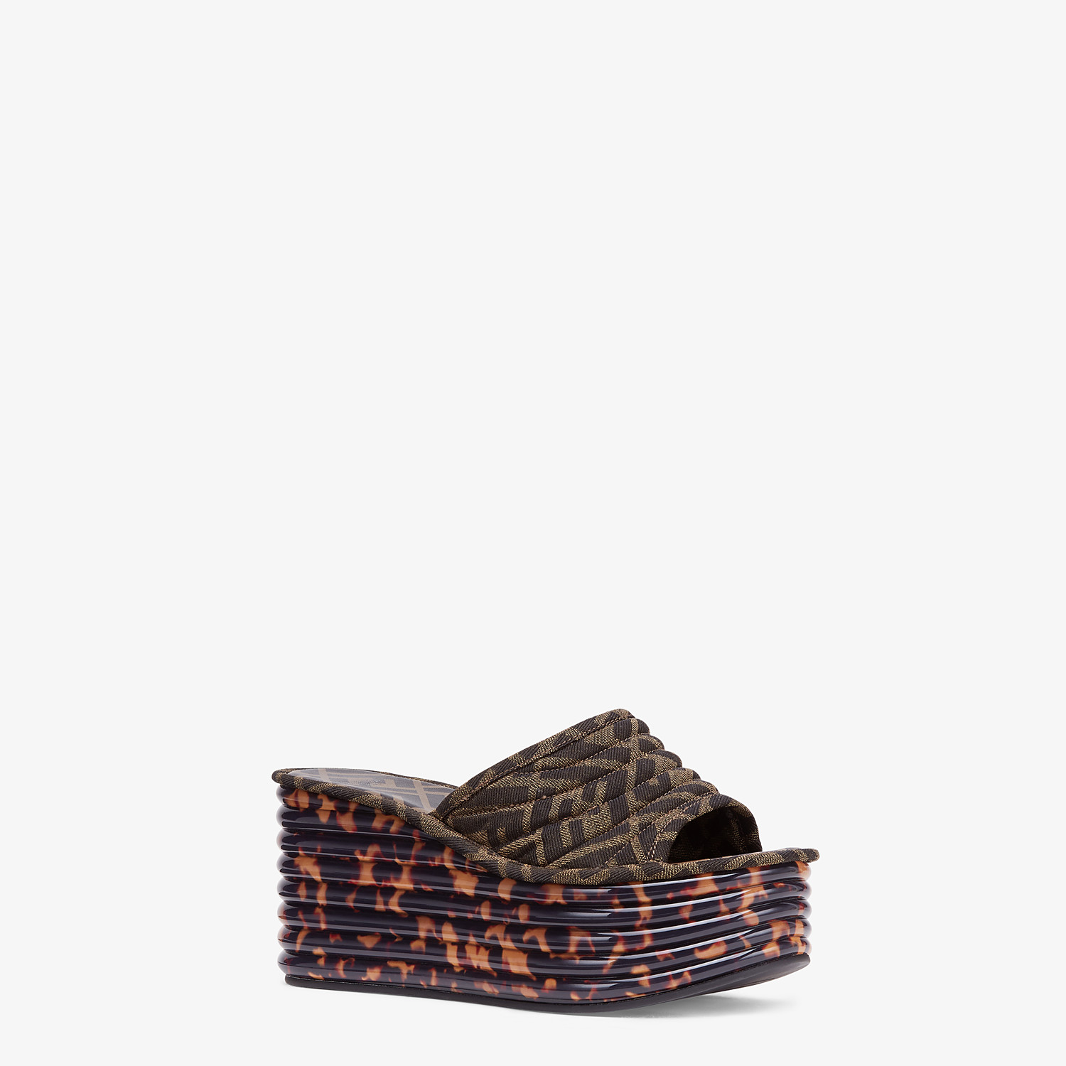 FENDI PLATFORMS - Brown fabric Promenades - view 2 detail