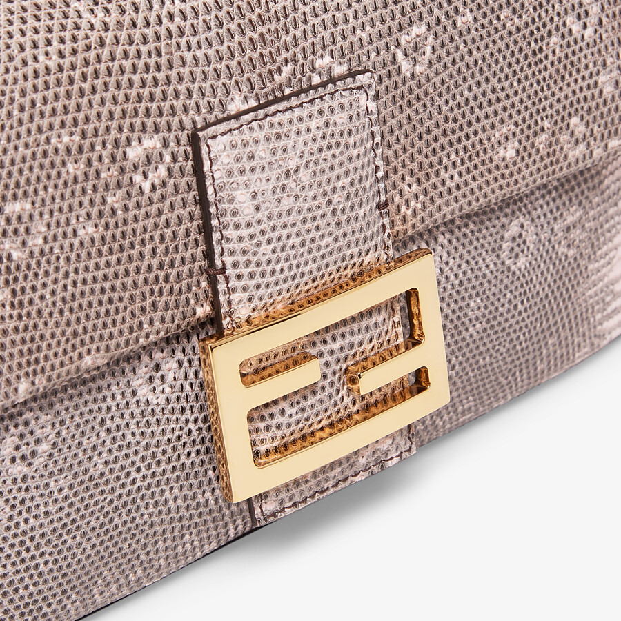 FENDI BAGUETTE 1997 - Pink lizard leather Re-Edition bag - view 5 detail