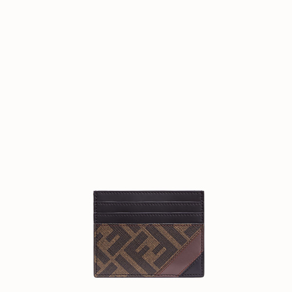 FENDI CARD HOLDER - Brown fabric card holder - view 1 small thumbnail
