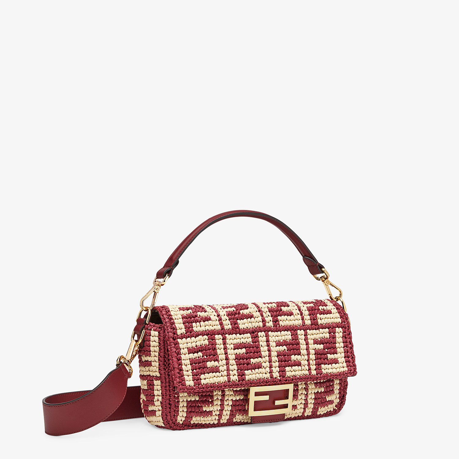 FENDI BAGUETTE - Burgundy raffia FF bag - view 3 detail