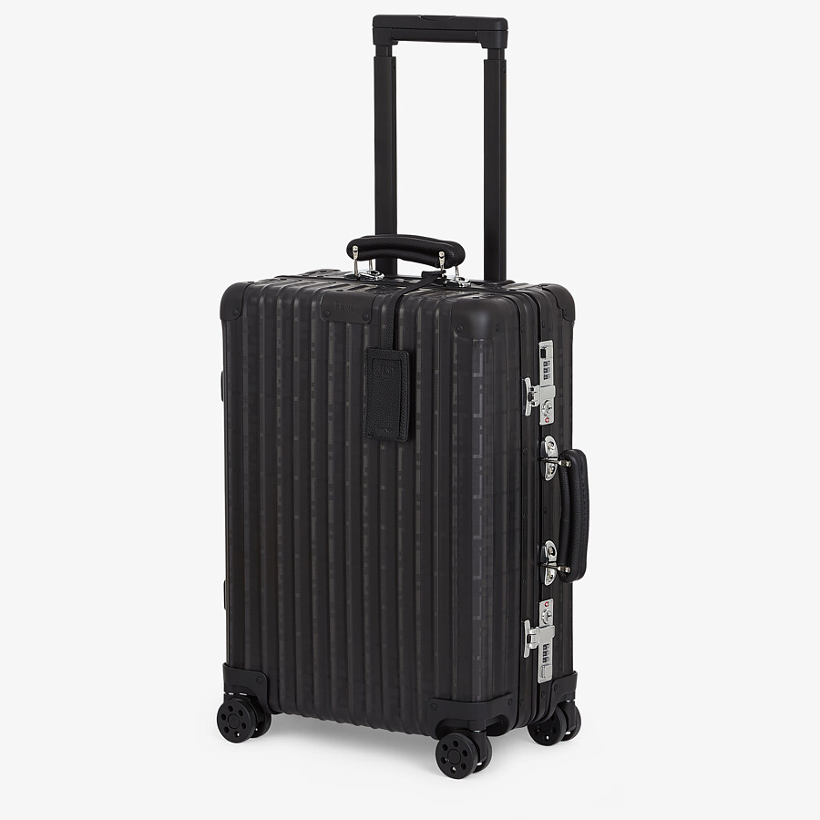 FENDI CABIN SIZE TROLLEY - Black aluminum trolley case with leather details - view 2 detail