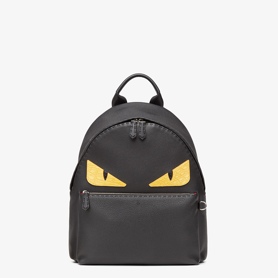 FENDI BACKPACK - In black Roman leather with inlay - view 1 detail