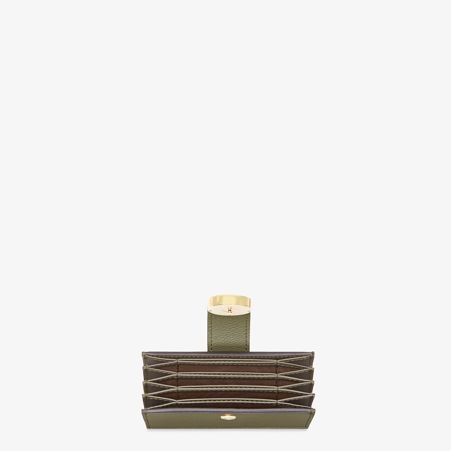 FENDI CARD HOLDER - Green leather gusseted card holder - view 3 detail