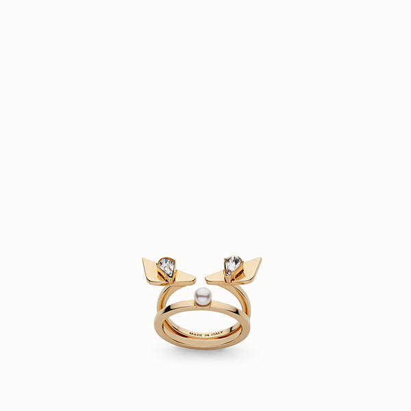 FENDI CRYSTAL WONDERS RING - in metal with rhinestones and pearl - view 1 small thumbnail