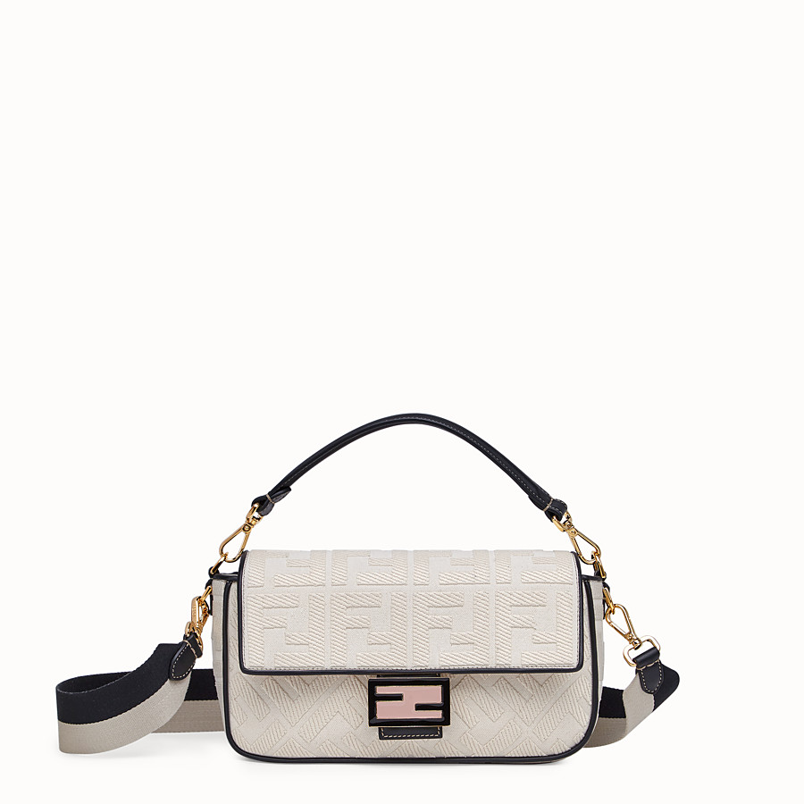 FENDI BAGUETTE - White canvas bag - view 1 detail
