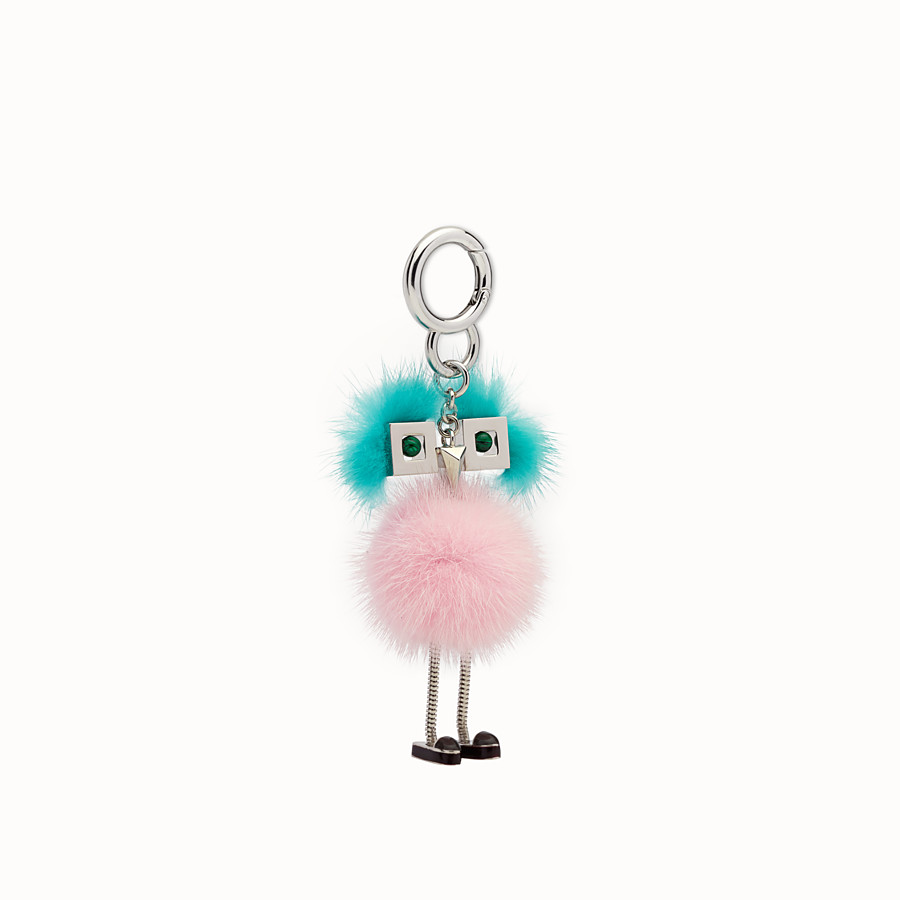 FENDI CHICK BAG CHARM - Charm in pink and light blue fur - view 1 detail