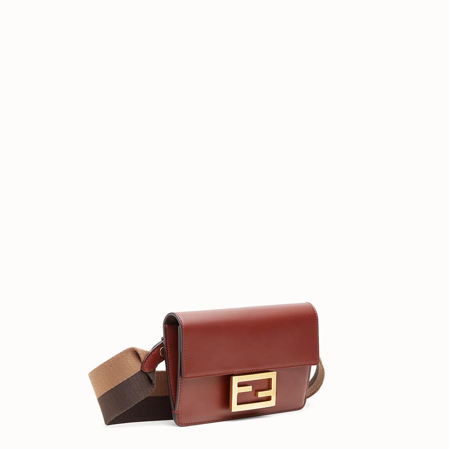 FENDI FLAT BAGUETTE - Brown leather mini-bag - view 3 detail