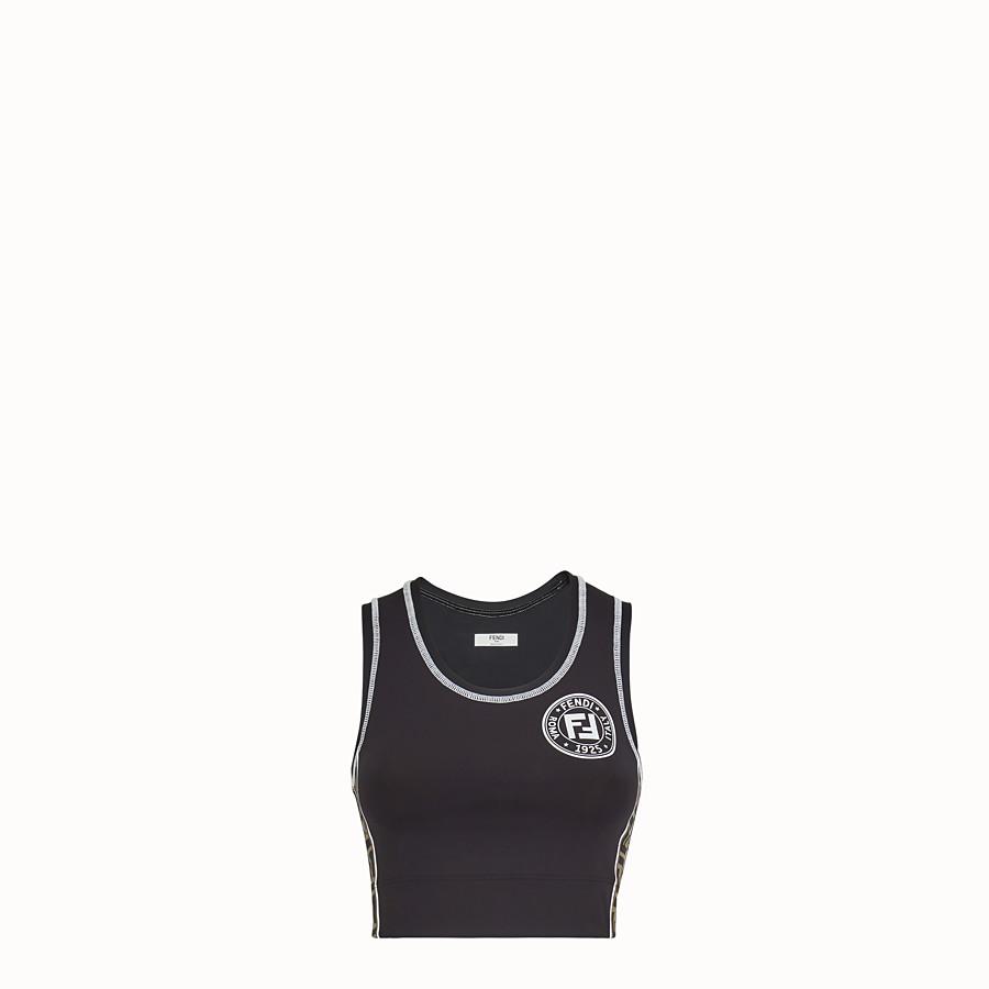 FENDI SPORTS TOP - Black fabric fitness knit - view 1 detail