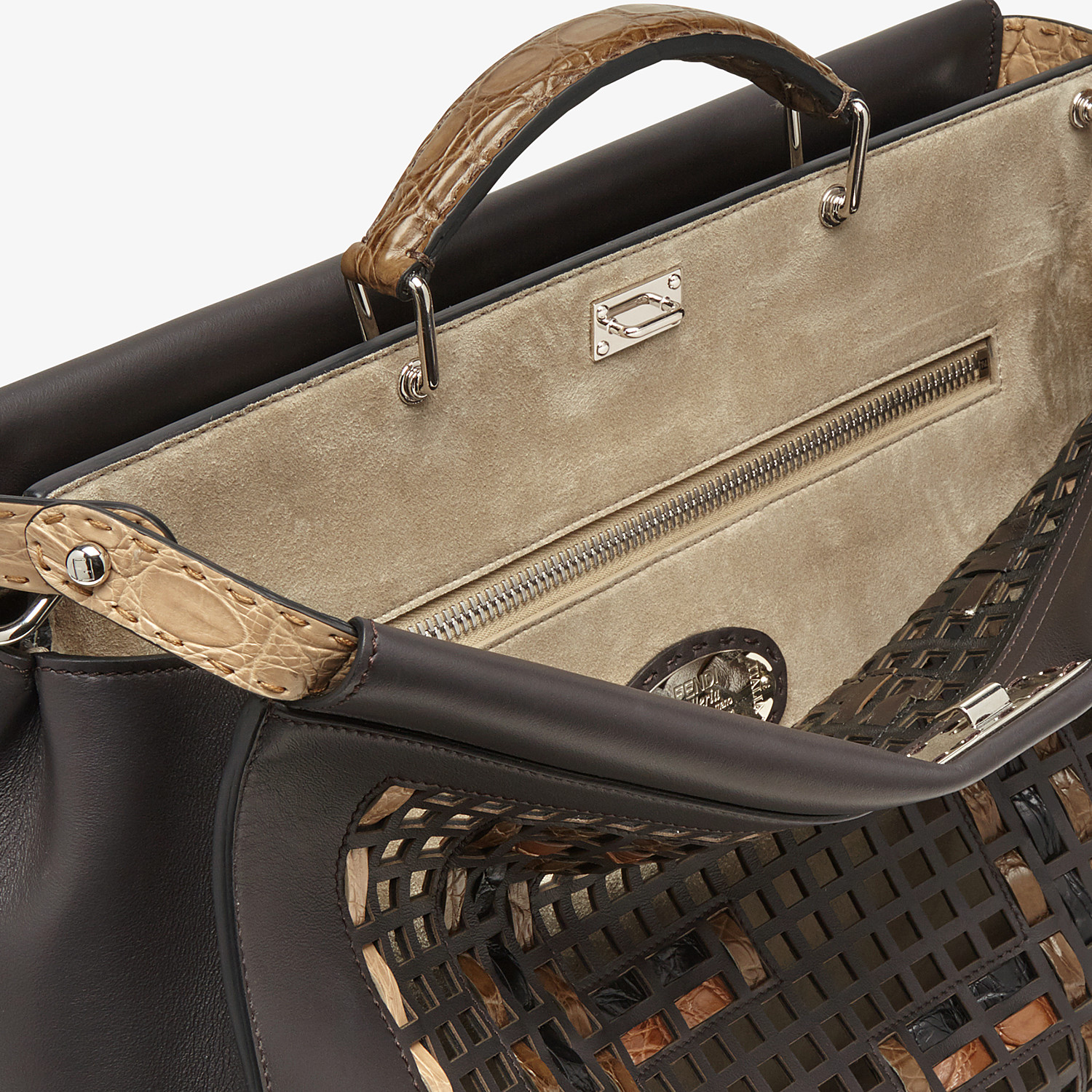 FENDI PEEKABOO ICONIC MEDIUM - Brown leather bag - view 5 detail