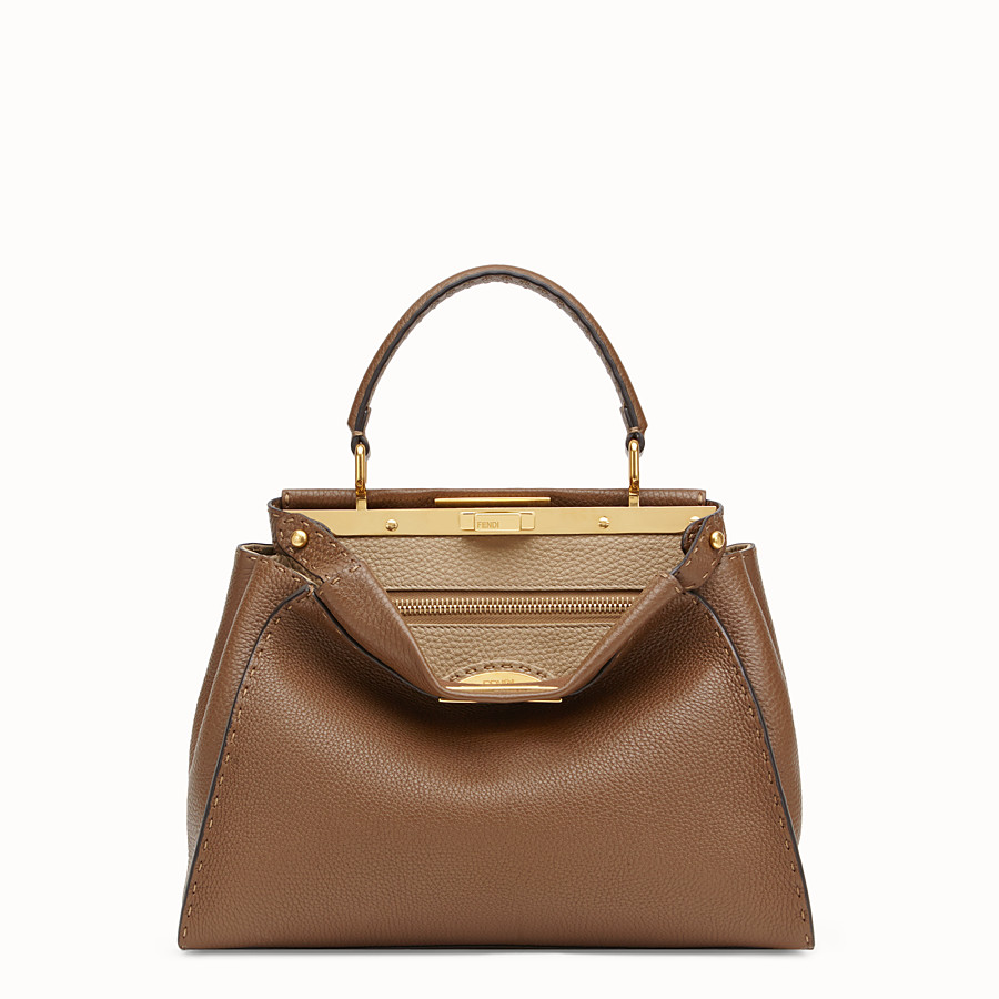 FENDI PEEKABOO REGULAR - Brown leather bag - view 1 detail