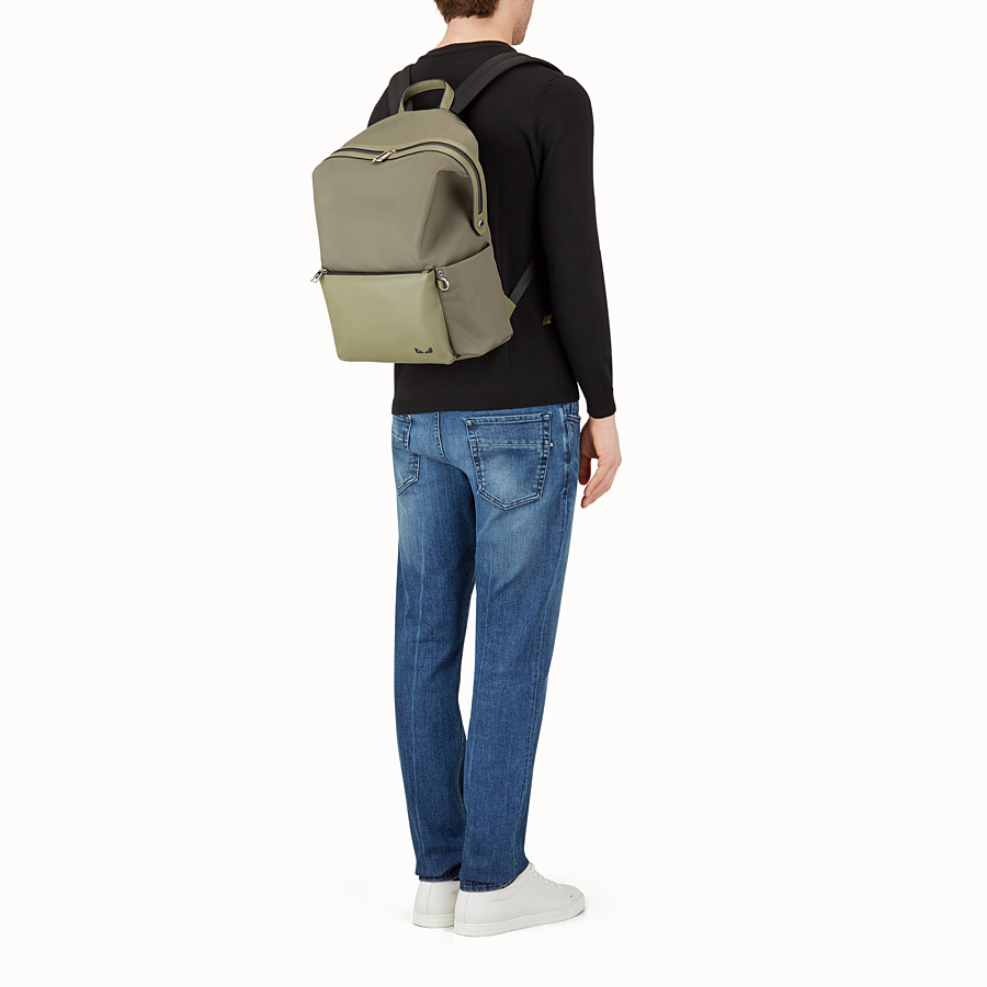 FENDI BACKPACK - Green nylon and leather backpack - view 5 detail
