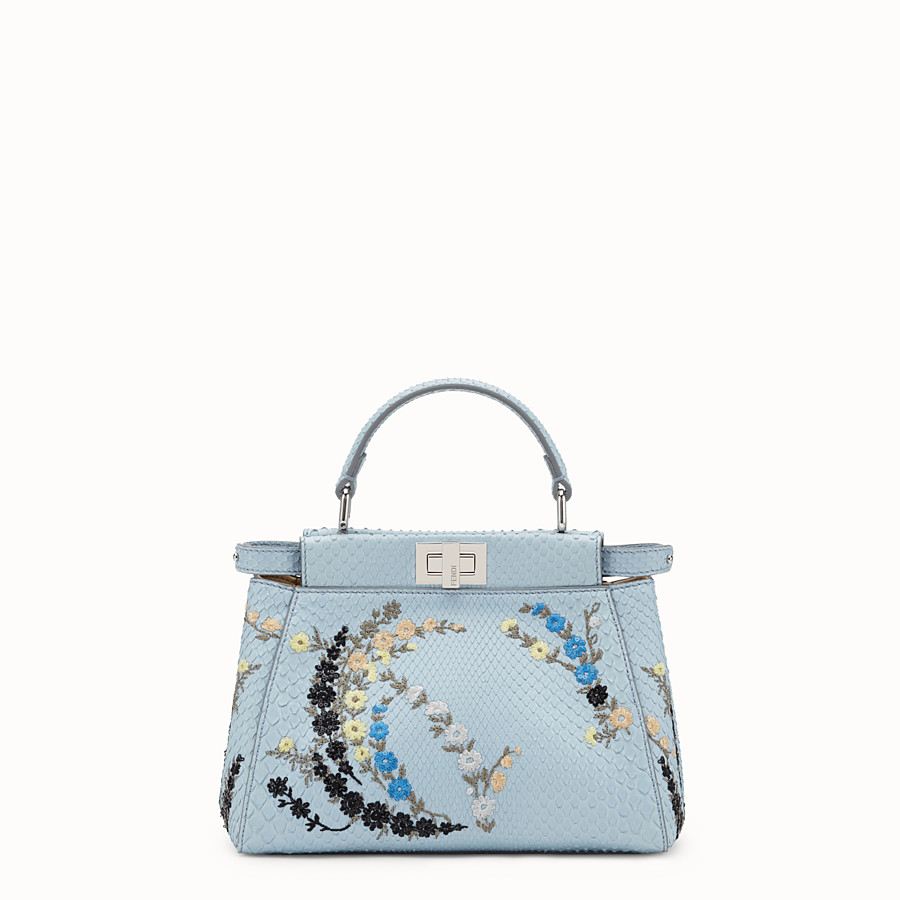 FENDI 미니 피카부 - 블루 컬러의 파이톤 스킨 핸드백 - view 1 detail