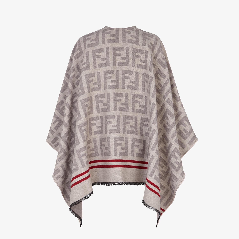 FENDI PONCHO FF - Poncho in lana e seta beige - vista 2 dettaglio