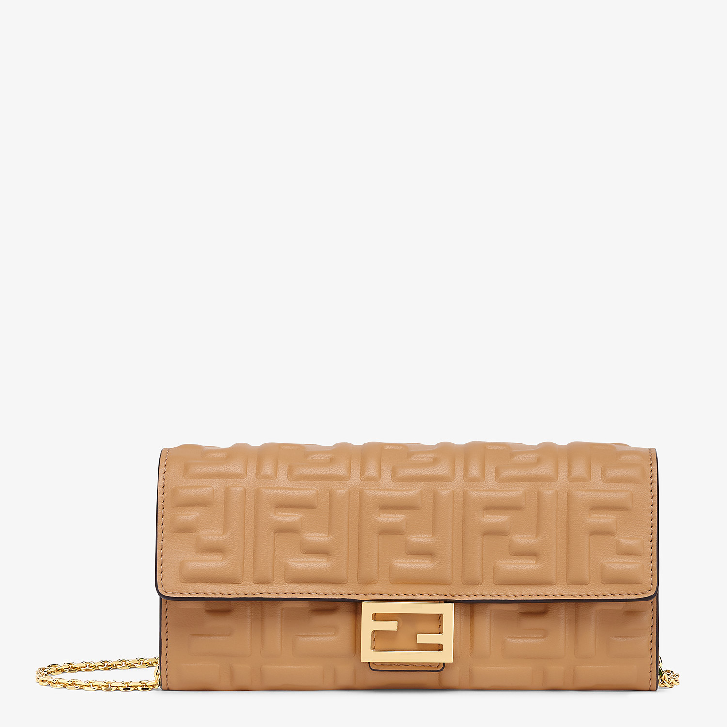 FENDI CONTINENTAL WITH CHAIN - Beige nappa leather wallet - view 1 detail