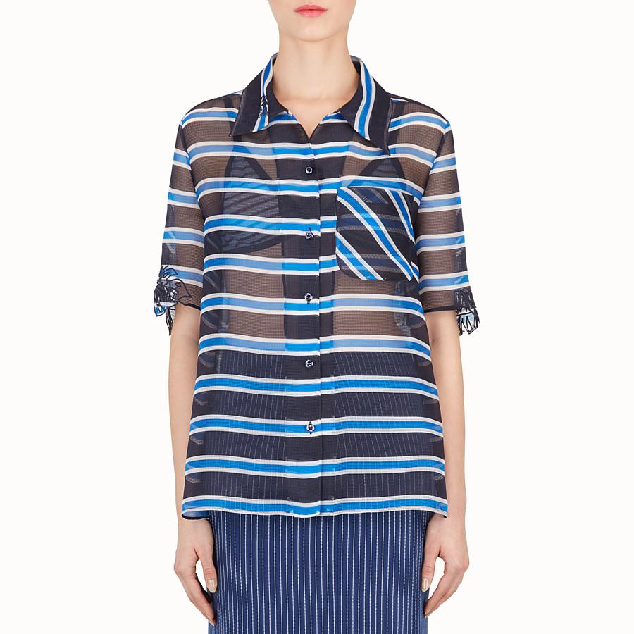 FENDI SHIRT - Light blue silk gauze shirt - view 1 detail