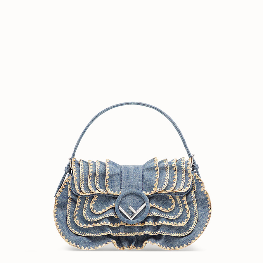 FENDI BAGUETTE - Blue denim bag - view 1 detail