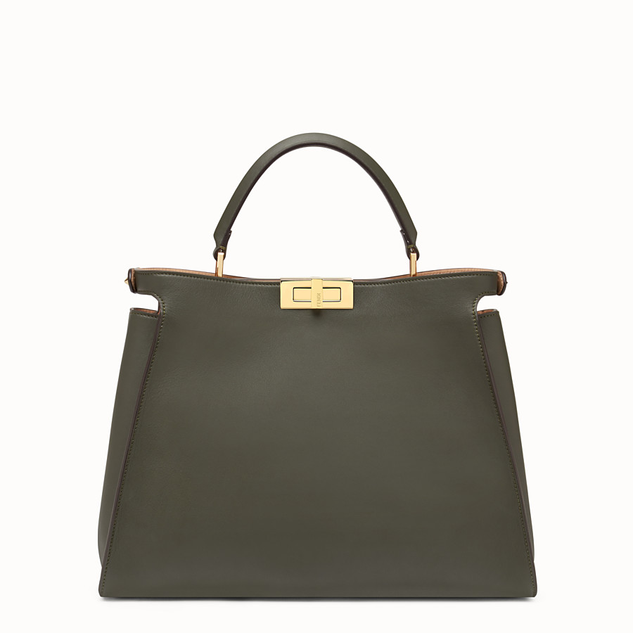 FENDI PEEKABOO ESSENTIAL - Gray-green leather handbag - view 3 detail