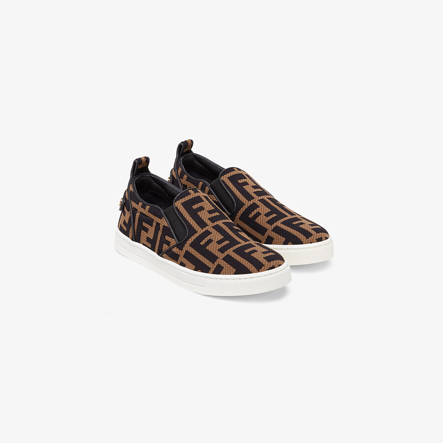 FENDI JUNIOR SLIP ONS - Fabric junior slip-ons with all-over FF logo - view 2 detail