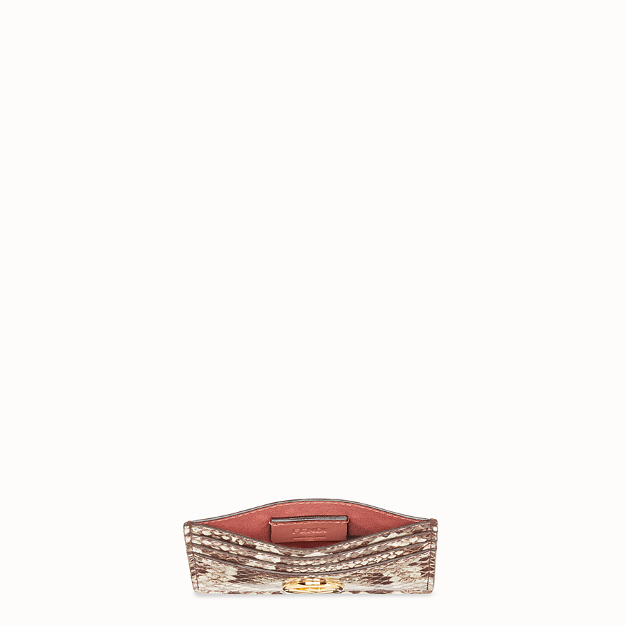 FENDI CARD HOLDER - Beige leather flat card holder with exotic details - view 4 detail