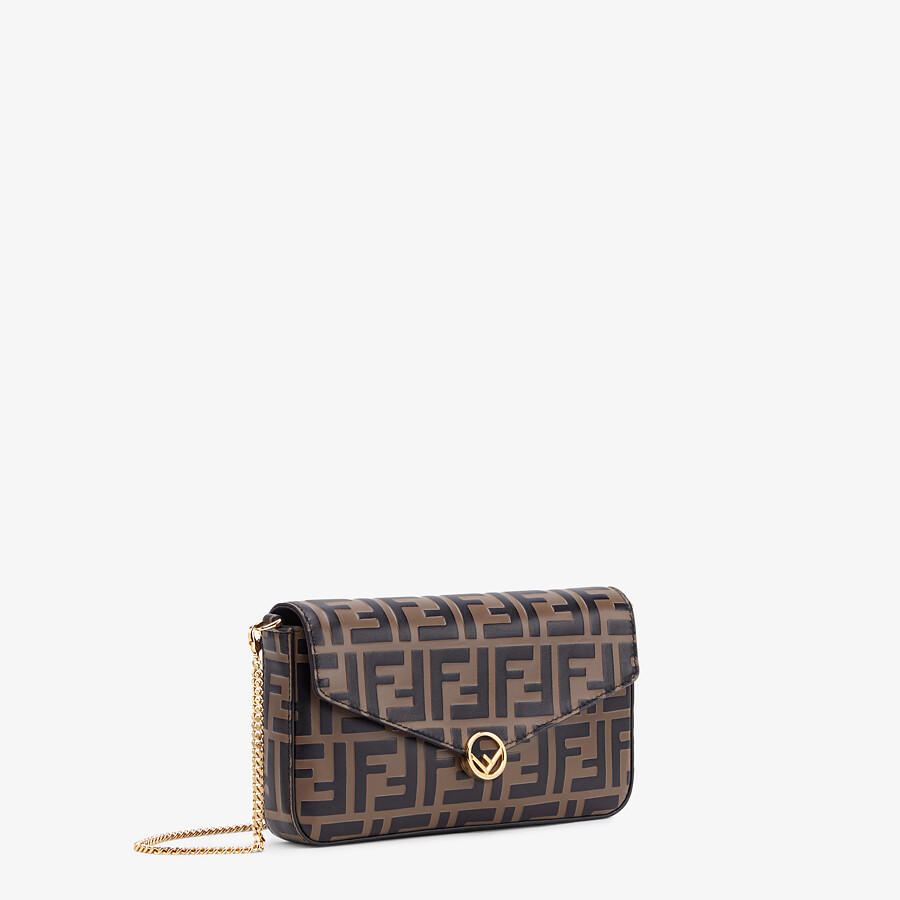 FENDI WALLET ON CHAIN WITH POUCHES - Brown leather mini-bag - view 3 detail