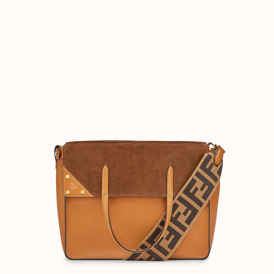 FENDI FENDI FLIP REGULAR - Brown leather and suede bag - view 1 detail