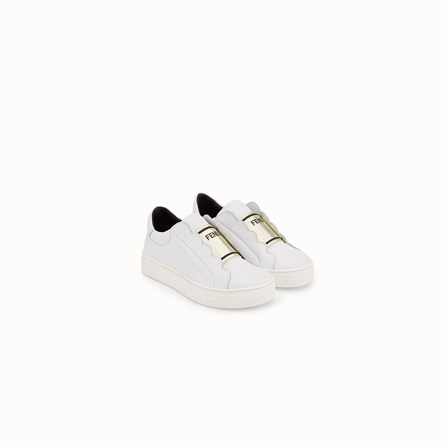 FENDI FIRST-STEPS SNEAKERS - White leather sneakers - view 2 detail