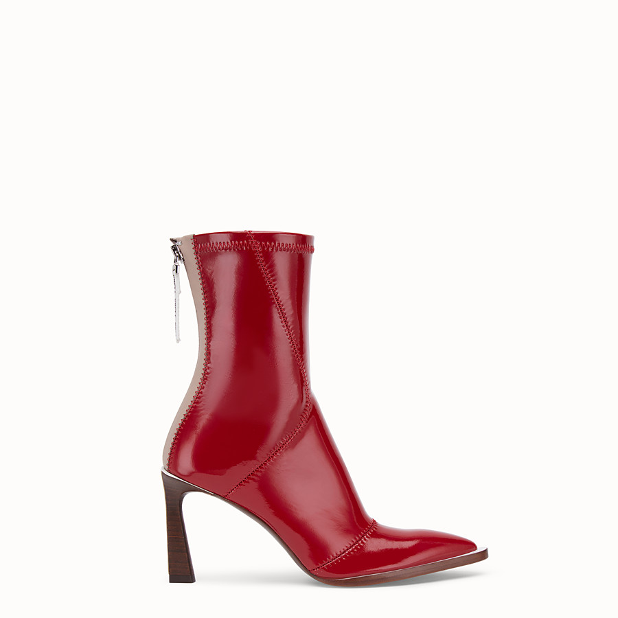 FENDI ANKLE BOOTS - Glossy red neoprene ankle boots - view 1 detail