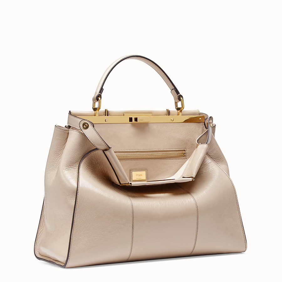 FENDI PEEKABOO ICONIC LARGE - Beige leather bag - view 4 detail