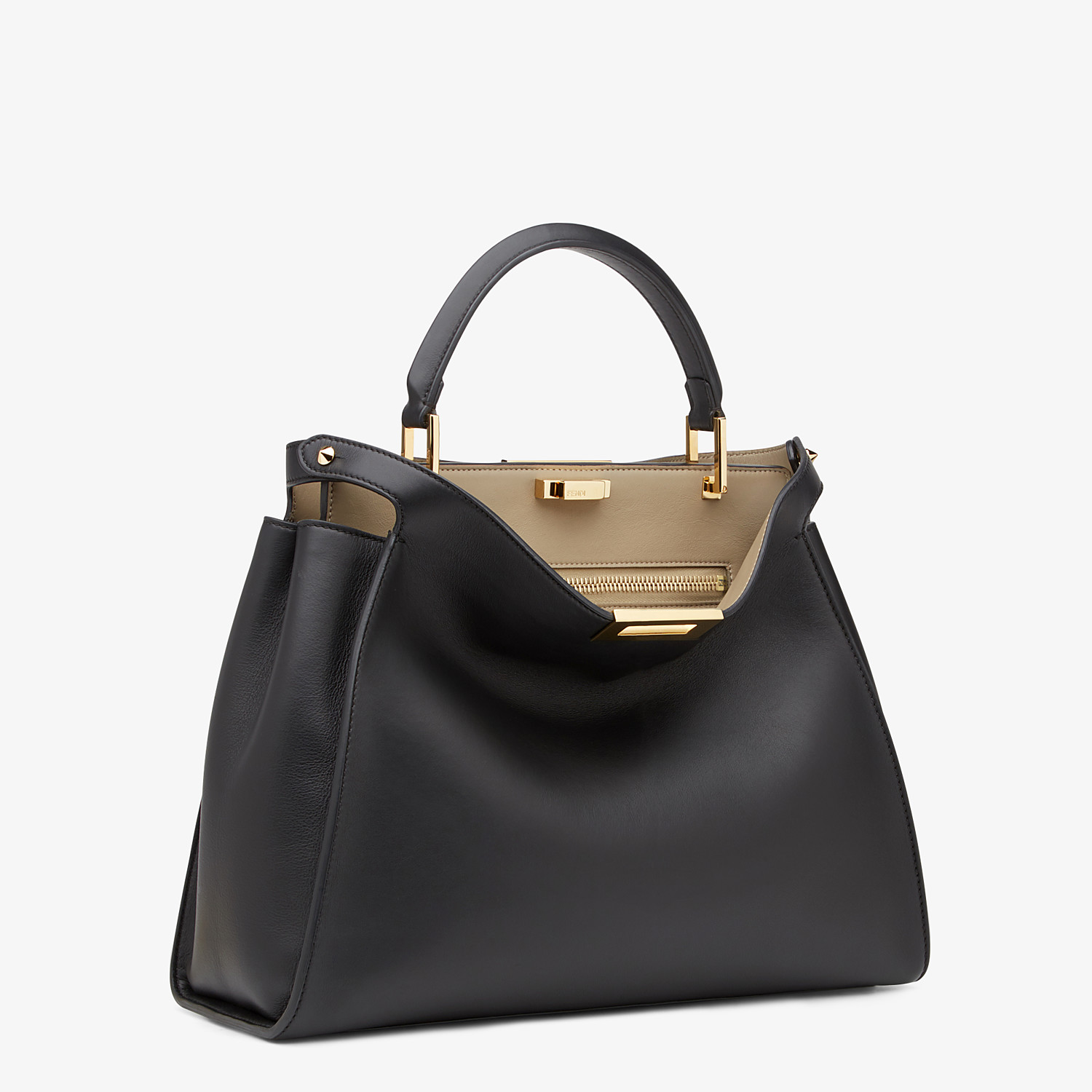 FENDI PEEKABOO ICONIC ESSENTIAL - Black and beige leather handbag - view 2 detail