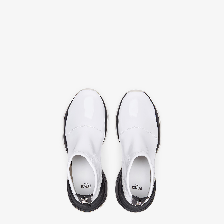 FENDI SNEAKER - Sneaker in glossy neoprene bianca - vista 4 dettaglio