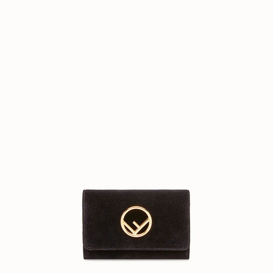 FENDI WALLET ON CHAIN - Black velvet mini-bag - view 1 detail