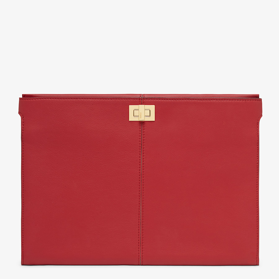 FENDI PORTEMONNAIE-CLUTCH - Clutch aus Leder in Rot - view 1 detail