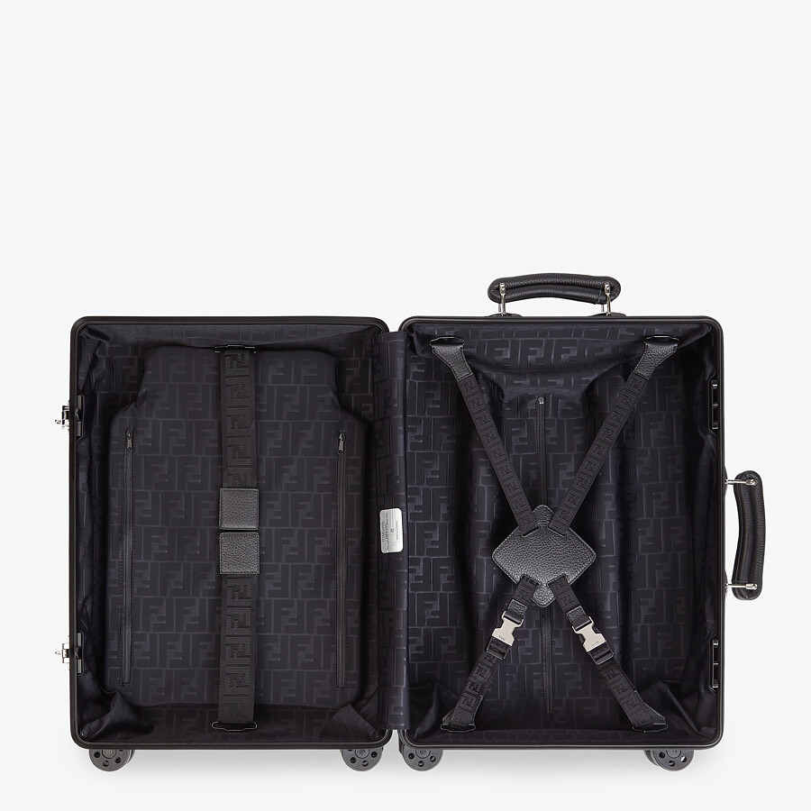 FENDI CABIN SIZE TROLLEY - Black aluminum trolley case with leather details - view 3 detail