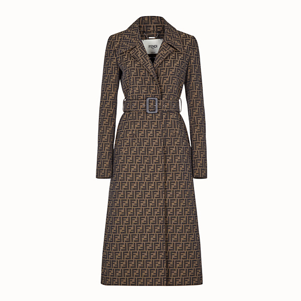 FENDI OVERCOAT - Brown canvas trench coat - view 1 small thumbnail