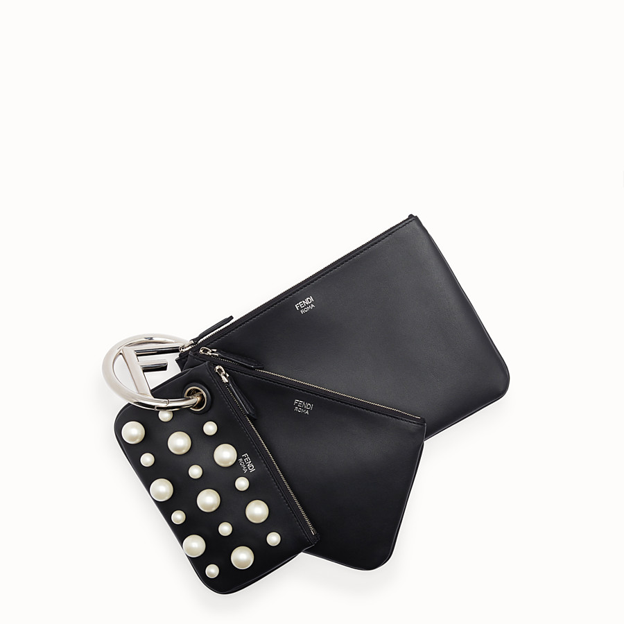 FENDI TRIPLETTE - Black leather clutch - view 1 detail