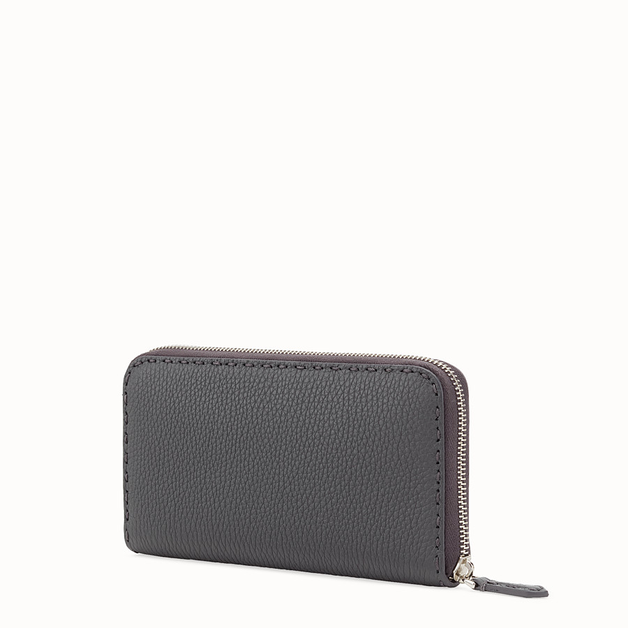 FENDI ZIP-AROUND - Wallet in gray leather - view 2 detail