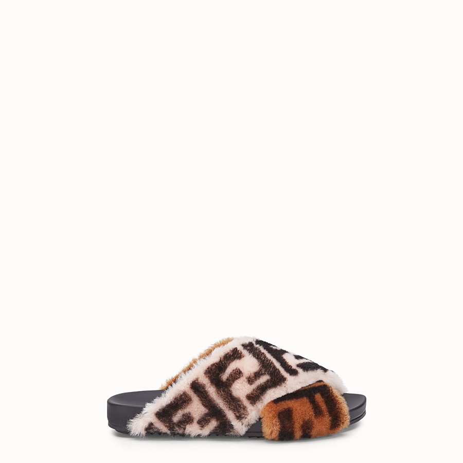 FENDI SANDALS - Multicolour sheepskin flats - view 1 detail