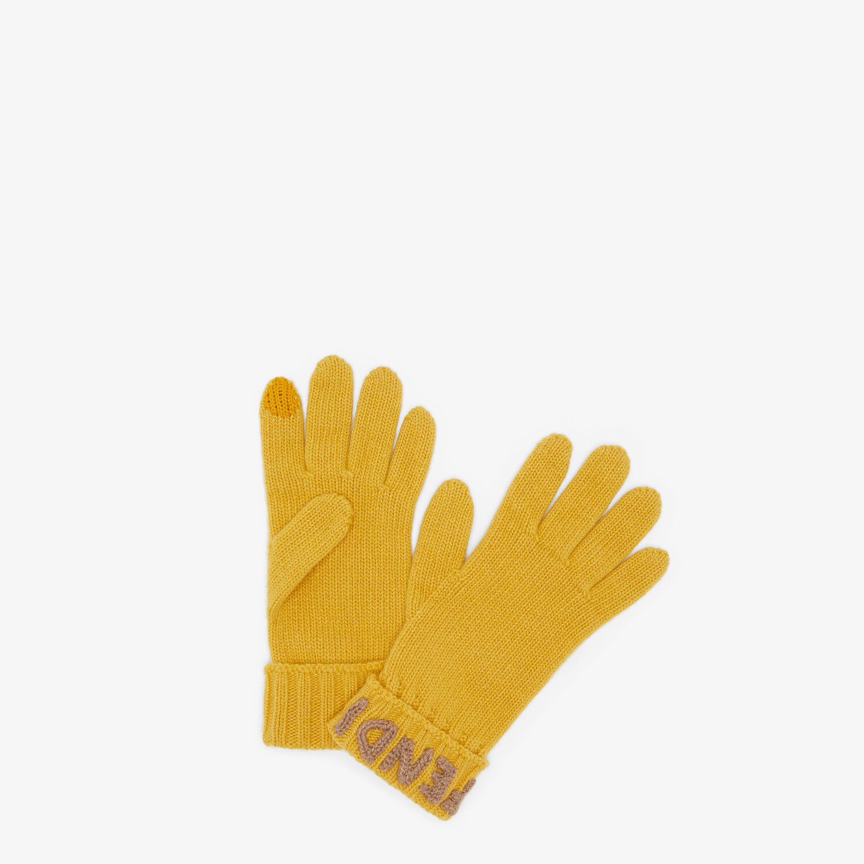 FENDI GLOVES - Yellow wool gloves - view 1 detail
