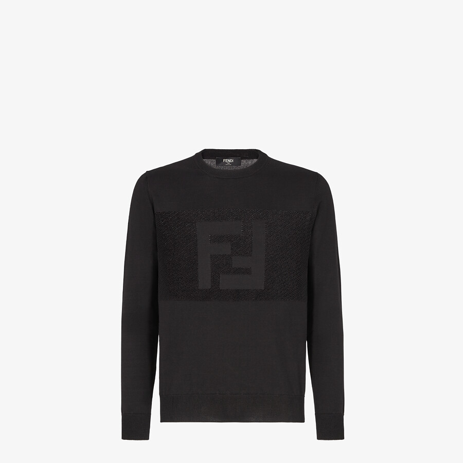 FENDI SWEATER - Black cotton sweater - view 1 detail