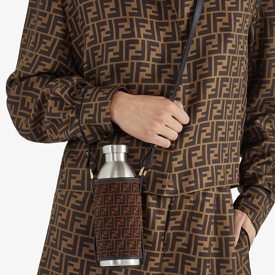 FENDI BOTTLE HOLDER - Brown leather flask holder - view 4 detail