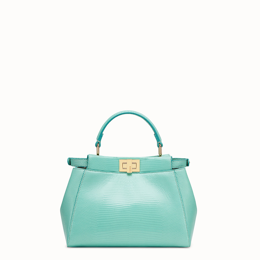 FENDI PEEKABOO ICONIC MINI - Green lizard leather bag - view 3 detail
