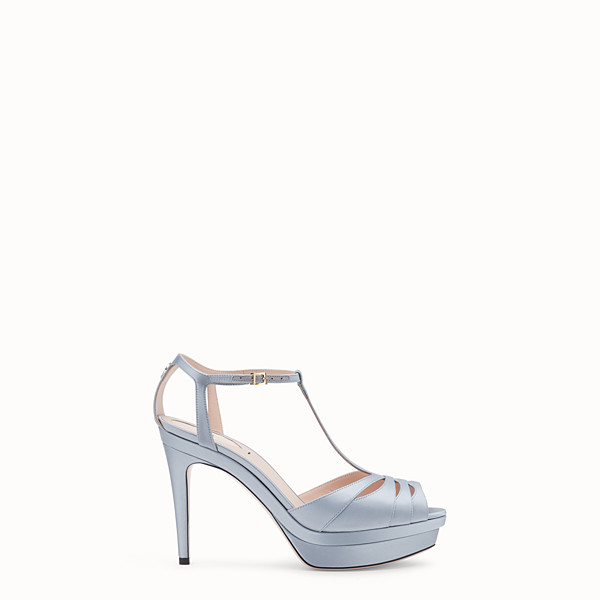 FENDI SANDALS - Grey satin high sandals - view 1 small thumbnail
