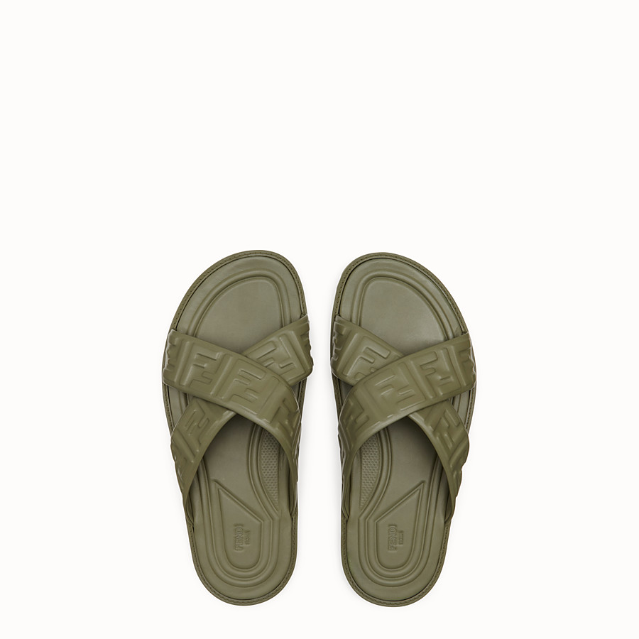 FENDI SANDALS - Green leather slides - view 4 detail