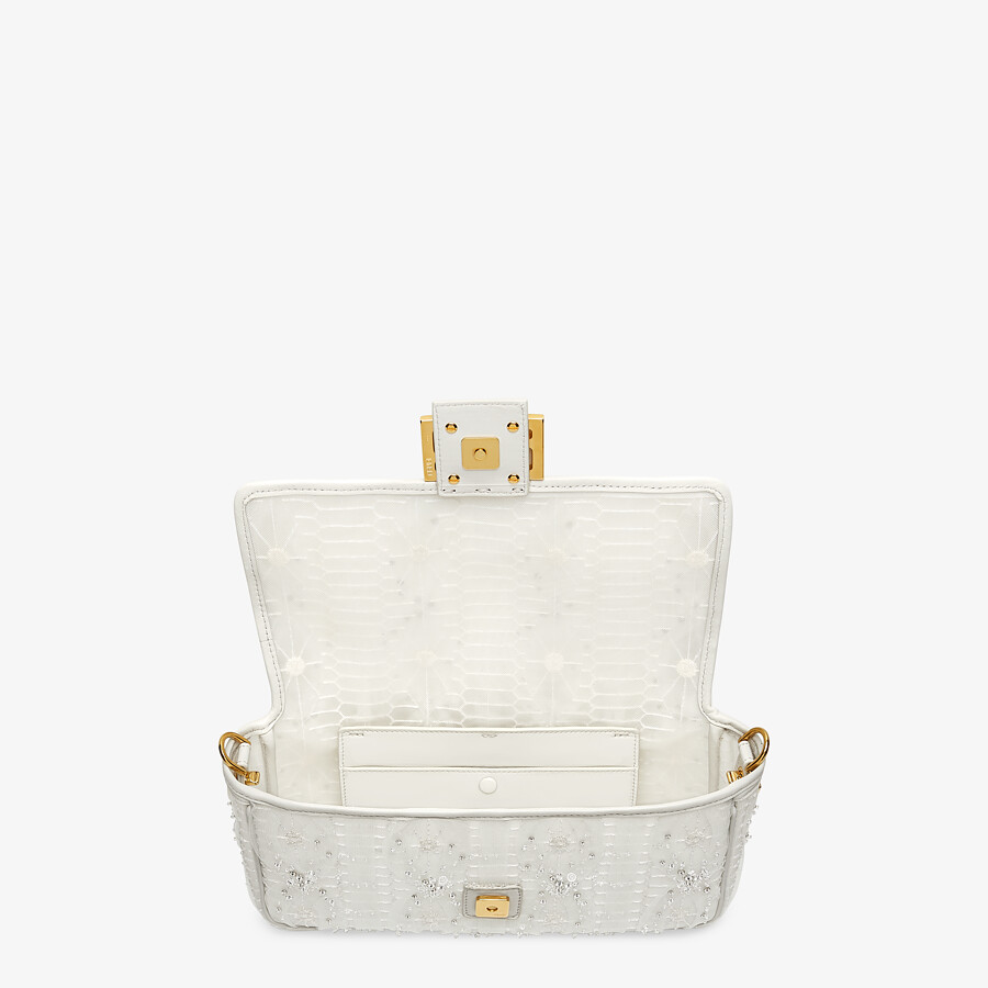 FENDI BAGUETTE - Embroidered white tulle bag - view 4 detail