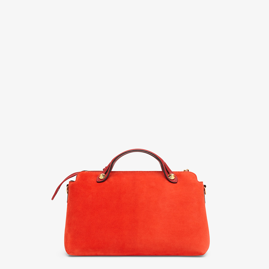FENDI BY THE WAY MEDIUM - Red suede Boston bag - view 3 detail