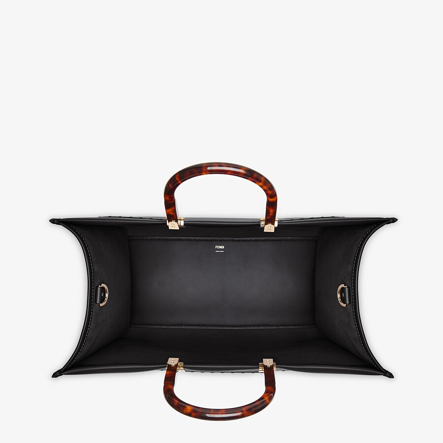 FENDI SUNSHINE SHOPPER - Black leather shopper - view 4 detail