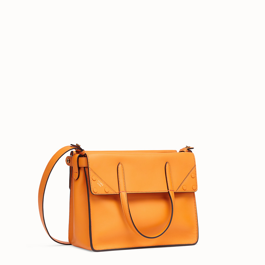 FENDI FENDI FLIP REGULAR - Orange leather bag - view 3 detail