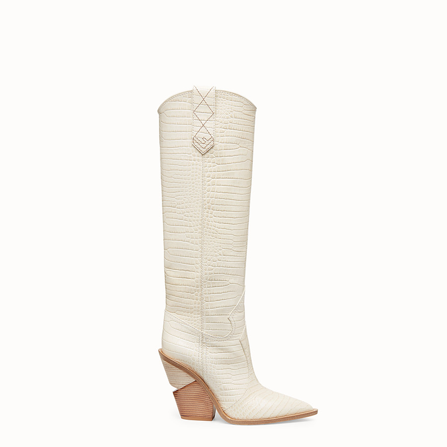 FENDI BOOTS - White crocodile-embossed boots - view 1 detail