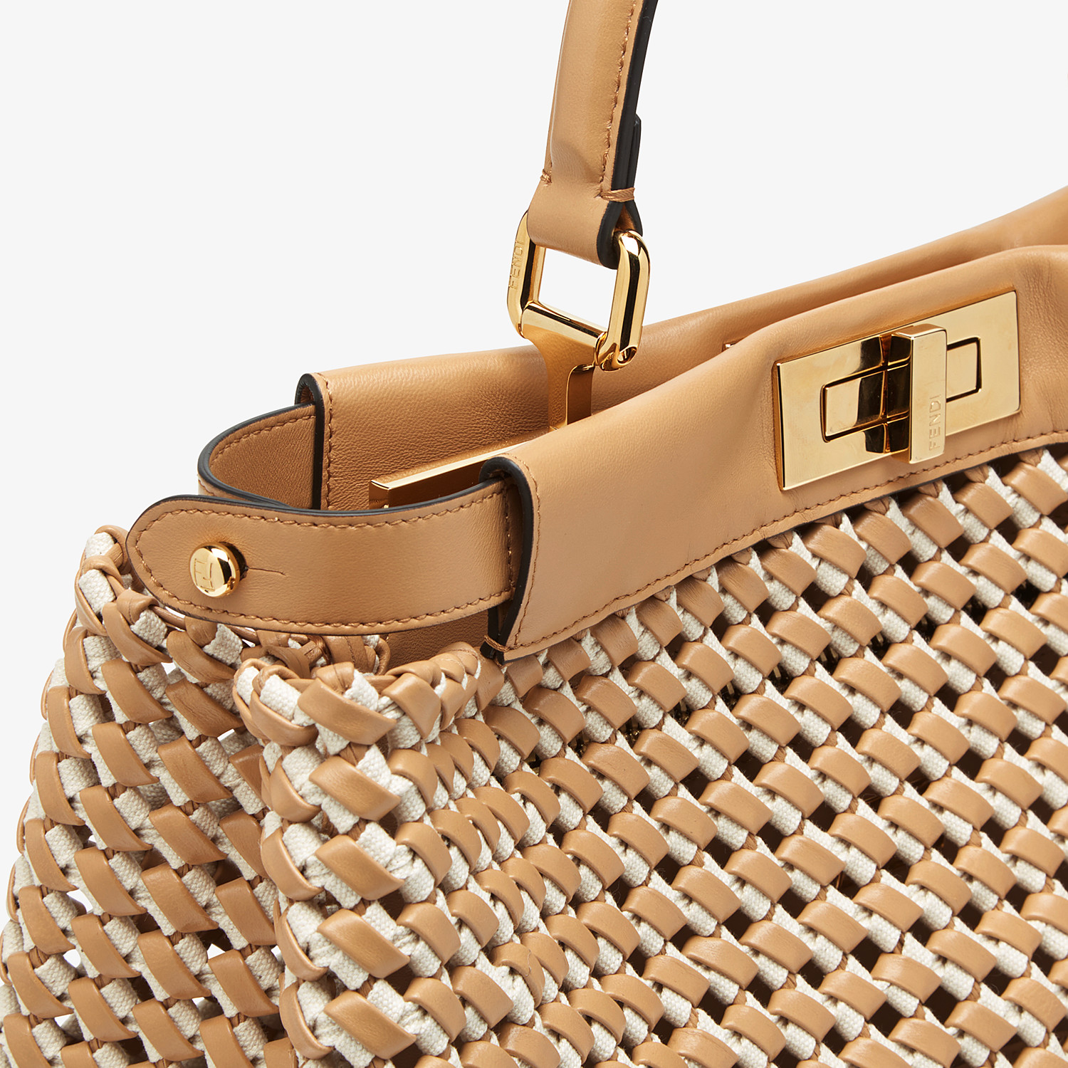 FENDI PEEKABOO ICONIC MEDIUM - Leather and canvas interlace bag - view 6 detail