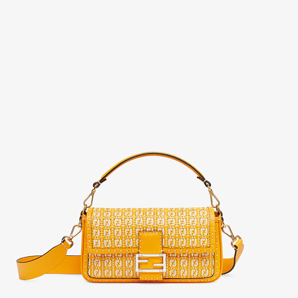 Orange and white braided leather bag